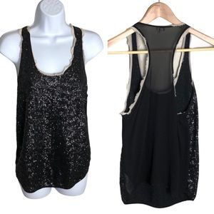 Aritzia Wilfred Black Sequined Silk Tank Top